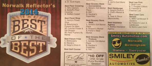 Norwalk Reflector's 2014 Best of the Best Award