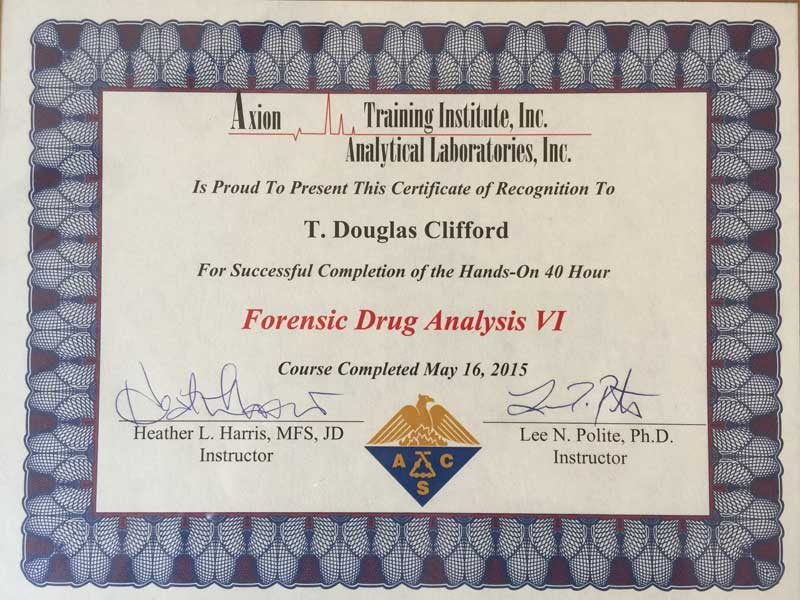Certificate of Axion Training Institute Inc. Analytical Laboratories Forensic Drug Analysis Certification
