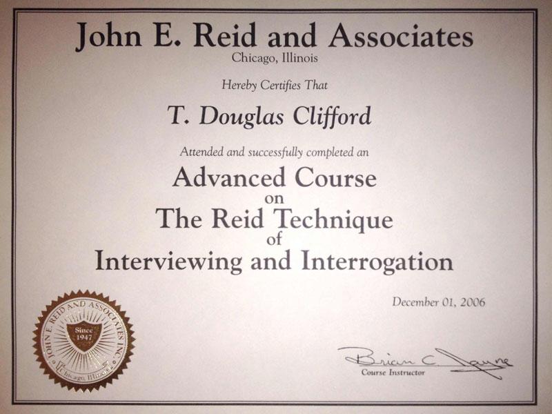 John E. Reid and Associates Interviewing and Interrogation Certificate
