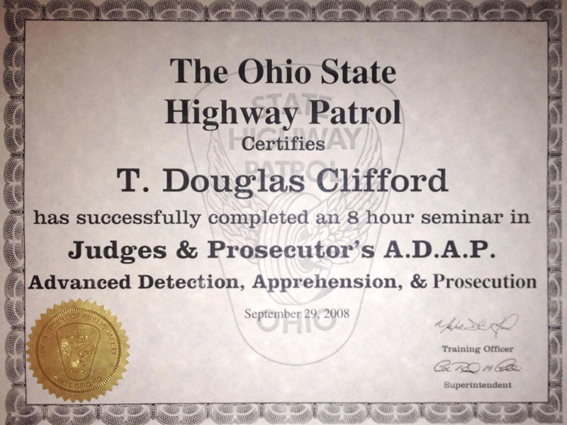 Ohio State Highway Patrol Judges and Prosecutor's ADAP certificate