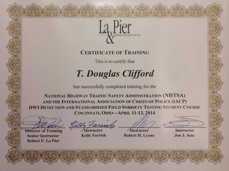 La Pier and Associates NHTSA Field Sobriety Test Certification