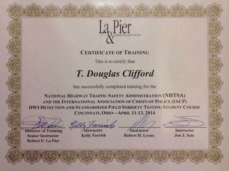 La Pier and Associates NHTSA Field Sobriety Test Certification