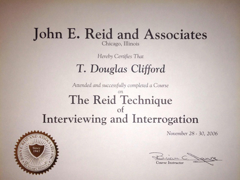 John E. Reid and Associates Interviewing and Interrogation Certificate