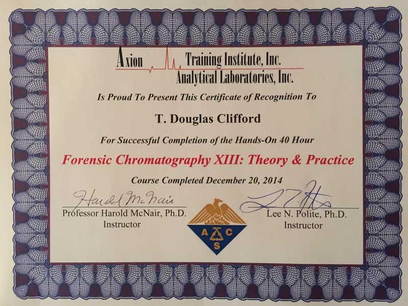 Certificate of Axion Training Institute Inc. Analytical Laboratories Forensic Chromatography Theory and Practice Certificate